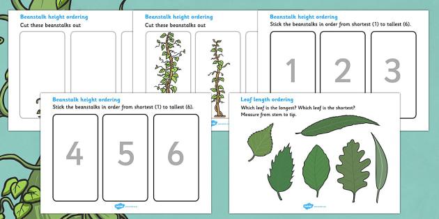 Beanstalk Height And Length Sheets - beanstalk, height and length, sheet, worksheet, height, length, tall, small, big, little, long, short, activity, measurement, measuring