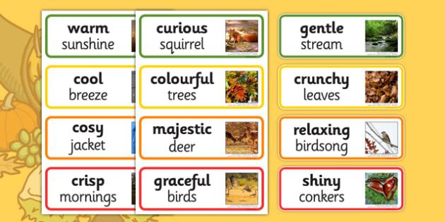 Autumn Adjectives - autumn, adjectives, season, words