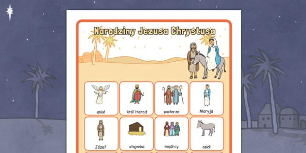 Plakat na gazetkę ścienną Boże Narodzenie po polsku  - Jezus