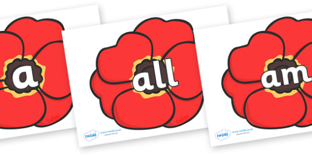 Foundation Stage 2 Keywords on Poppies - FS2, CLL, keywords, Communication language and literacy,  Display, Key words, high frequency words, foundation stage literacy, DfES Letters and Sounds, Letters and Sounds, spelling