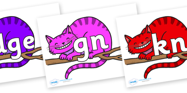 Silent Letters on Cheshire Cats - Silent Letters, silent letter, letter blend, consonant, consonants, digraph, trigraph, A-Z letters, literacy, alphabet, letters, alternative sounds