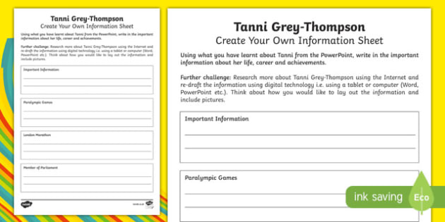 Tanni Grey Thompson Create Your Own Information Sheet - welsh, cymraeg, Tanni Grey-Thompson, Paralympian, Medals, Writing frame