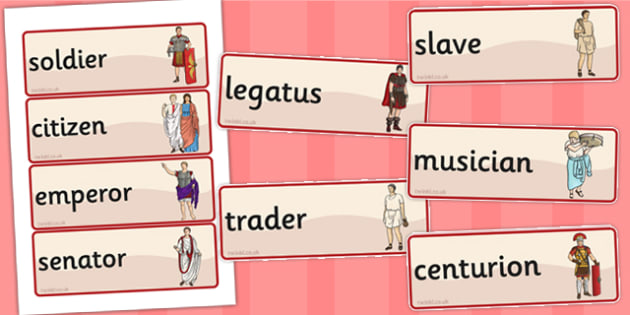 Roman People Word Cards - romans, visual, literacy, words, aid