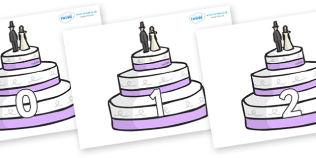 Numbers 0-31 on Wedding Cakes - 0-31, foundation stage numeracy, Number recognition, Number flashcards, counting, number frieze, Display numbers, number posters