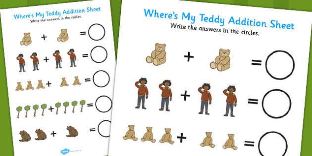 Ive Lost My Teddy Where Is ItAddition Sheet - wheres my teddy, addition sheet, addition, wheres my teddy addition sheet, wheres my teddy worksheet
