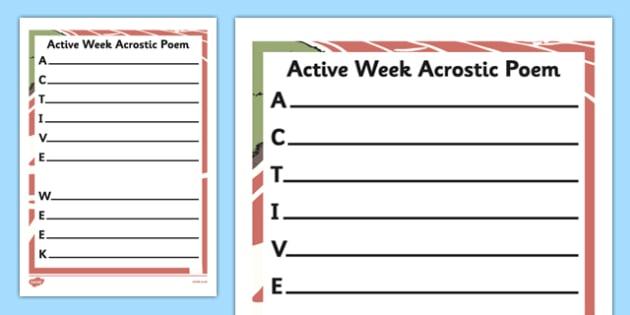 Active Week Acrostic Poem Activity Sheet - active, week, PE, physical, sports, sport, worksheet