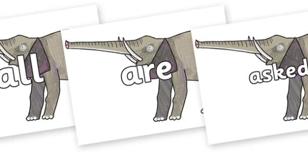 Tricky Words on Elephant to Support Teaching on The Bad Tempered Ladybird - Tricky words, DfES Letters and Sounds, Letters and sounds, display, words