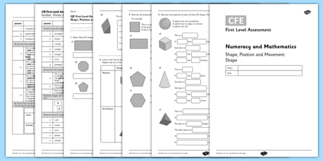 First Level Assessment - Shape - CfE, assessment, shape, tiling, tessellation