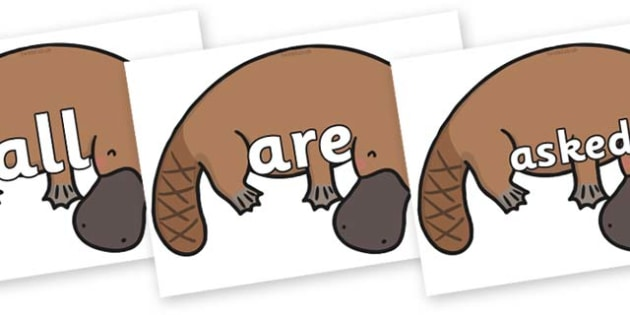 Tricky Words on Platypus - Tricky words, DfES Letters and Sounds, Letters and sounds, display, words