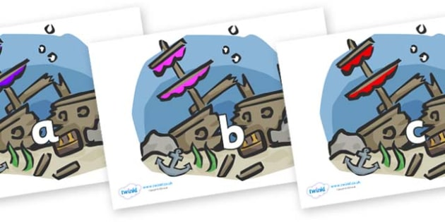 Phase 2 Phonemes on Ship Wrecks - Phonemes, phoneme, Phase 2, Phase two, Foundation, Literacy, Letters and Sounds, DfES, display