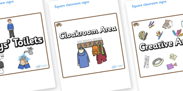Hedgehog Themed Editable Square Classroom Area Signs (Plain) - Themed Classroom Area Signs, KS1, Banner, Foundation Stage Area Signs, Classroom labels, Area labels, Area Signs, Classroom Areas, Poster, Display, Areas