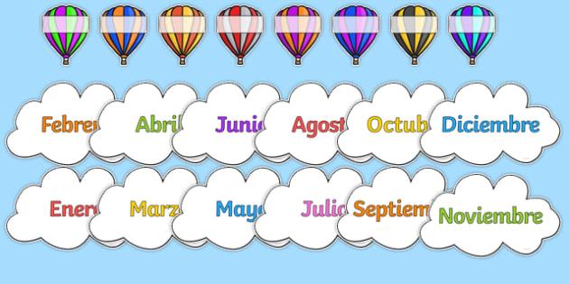 Editable Hot Air Balloon Birthday Display Spanish - spanish, birthday, birthday display, editable birthday display, classroom display, classroom management, hot air balloon