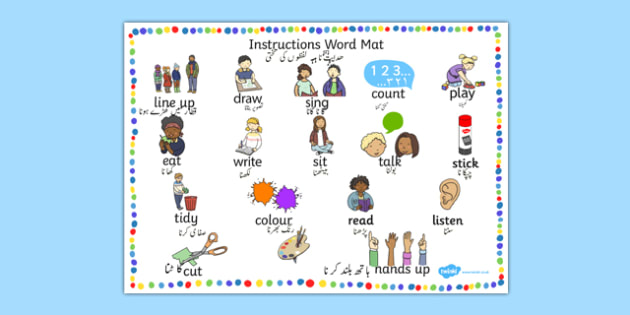 New EAL Starter Instructions Word Mat Urdu Translation - urdu, literacy, words, mats