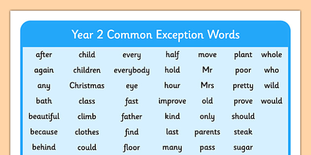 Year 2 Common Exception Words Year 2 Common Exception