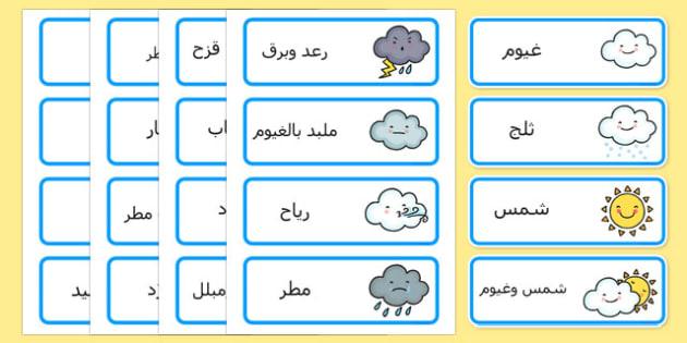 بطاقات كلمات عن الطقس - الطقس، وسائل تعليمية، موارد تعليمية