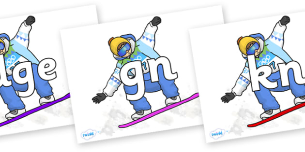 Silent Letters on Snowboarding - Silent Letters, silent letter, letter blend, consonant, consonants, digraph, trigraph, A-Z letters, literacy, alphabet, letters, alternative sounds