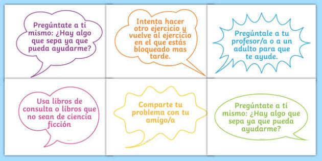 What to do When Stuck Display Speech Bubbles Spanish - spanish, displays, speech