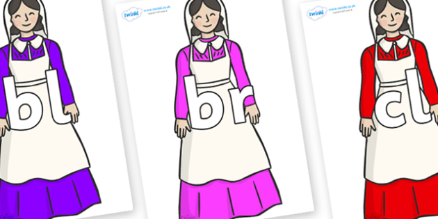 Initial Letter Blends on Florence Nightingale - Initial Letters, initial letter, letter blend, letter blends, consonant, consonants, digraph, trigraph, literacy, alphabet, letters, foundation stage literacy