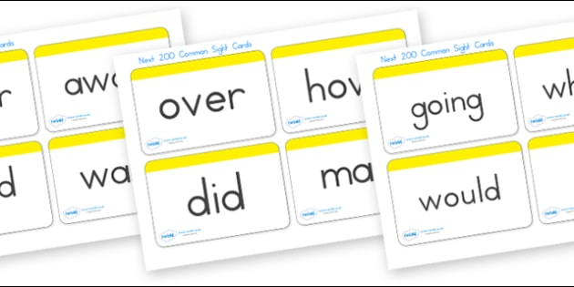 Next 200 Sight Word Cards - sight, see, senses, visual aids, card