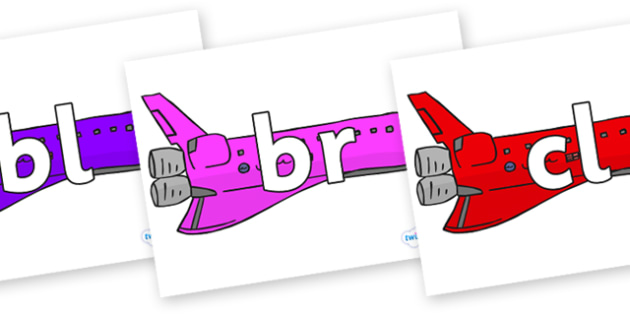 Initial Letter Blends on Jets - Initial Letters, initial letter, letter blend, letter blends, consonant, consonants, digraph, trigraph, literacy, alphabet, letters, foundation stage literacy