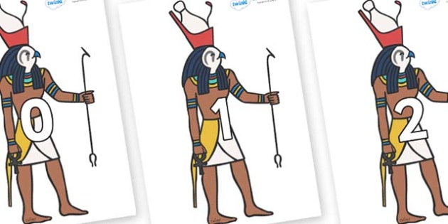 Numbers 0-50 on Egyptian Gods - 0-50, foundation stage numeracy, Number recognition, Number flashcards, counting, number frieze, Display numbers, number posters