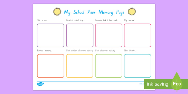 School Year Memory Write Up Worksheet