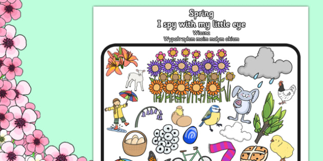 Spring Themed I Spy With My Little Eye Activity Polish Translation - polish, activities, spring