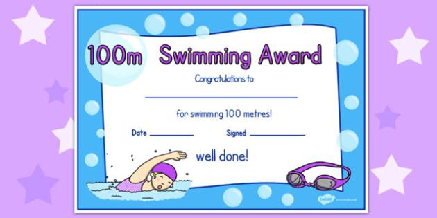 100m Swimming Certificate - swimming, certificate, 100m, awards