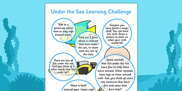 EYFS Under the Sea Home Learning Challenge Sheet Reception FS2 - under the sea