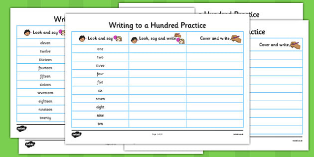 Free Worksheets better handwriting worksheets : Number Words One to a Hundred Writing Practice Worksheets