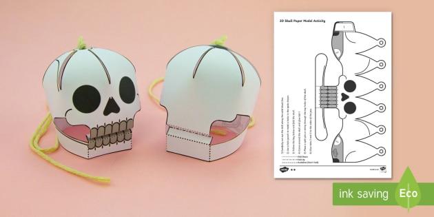 Simple 3D Halloween Skull Activity Display Paper Craft