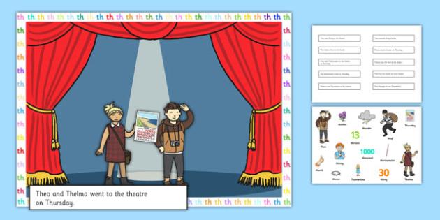 Voiceless TH Sentences Cut and Stick Pictures - voiceless, th, sentences, cut and stick, pictures