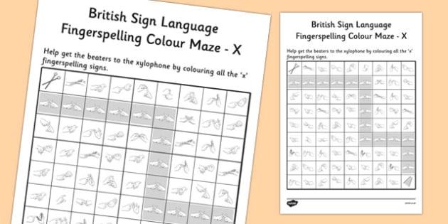 British Sign Language Fingerspelling Colour Maze X - colour, maze