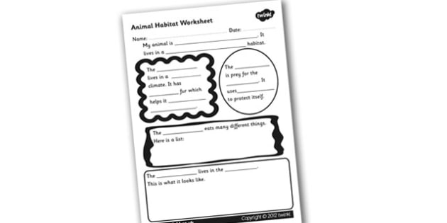 Animal Habitat Worksheet Animal Habitats Habitats Worksheet
