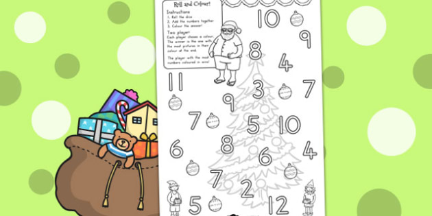 Christmas Colour and Roll Worksheet - australia, christmas, roll