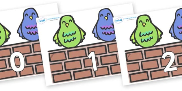 Numbers 0-31 on Two Little Dickie Birds - 0-31, foundation stage numeracy, Number recognition, Number flashcards, counting, number frieze, Display numbers, number posters