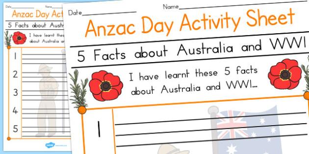 5 Facts about Australia WWl Anzac Day Activity Sheet - australia, worksheet