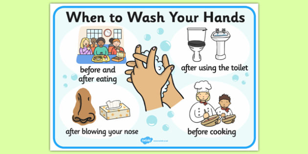 When to Wash Your Hands Display Sign - Wash hands, hands, washing, toilet, drinking, eating, nose, clean, healthy, area sign