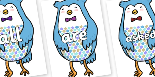 Tricky Words on Owl - Tricky words, DfES Letters and Sounds, Letters and sounds, display, words