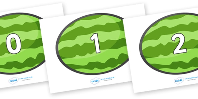 Numbers 0-50 on Melons (Horizontal) - 0-50, foundation stage numeracy, Number recognition, Number flashcards, counting, number frieze, Display numbers, number posters