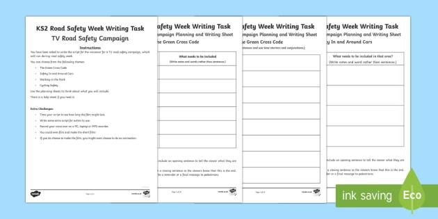 KS2 Road Safety Week 21-27 November Writing Activity