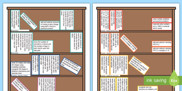 Year 3 Maths Assessment Targets Colouring Bookshelf - year 3, maths, mathematics, assessment, assess, targets, colour, colouring, bookshelf
