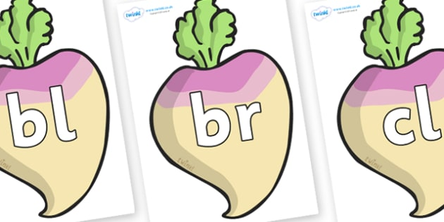 Initial Letter Blends on Turnips - Initial Letters, initial letter, letter blend, letter blends, consonant, consonants, digraph, trigraph, literacy, alphabet, letters, foundation stage literacy