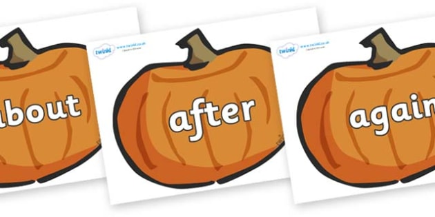 KS1 Keywords on Pumpkins - KS1, CLL, Communication language and literacy, Display, Key words, high frequency words, foundation stage literacy, DfES Letters and Sounds, Letters and Sounds, spelling