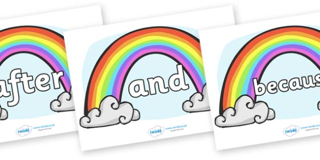 Connectives on Rainbows - Connectives, VCOP, connective resources, connectives display words, connective displays