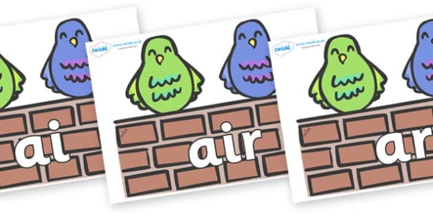 Phase 3 Phonemes on Two Little Dickie Birds - Phonemes, phoneme, Phase 3, Phase three, Foundation, Literacy, Letters and Sounds, DfES, display