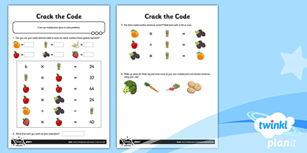 PlanIt Y3 Multiplication and Division Crack the Code Home Learning Tasks - homework, problems, puzzles, missing number problem, differentiated activity