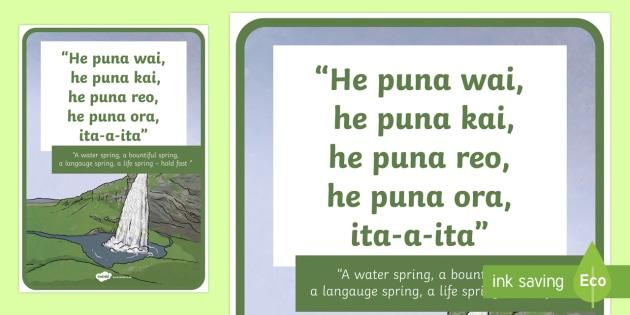 Whakatauki Te puna wai Display Poster Te Reo Maori/English - maori, whakatauki, proverbs