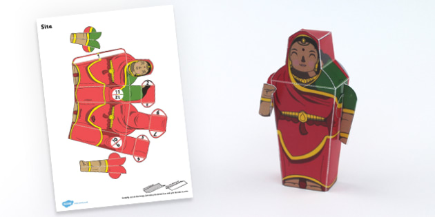 Diwali Paper Toy Character Sita - festivals, paper craft, craft