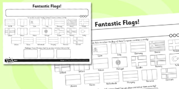 What a Wonderful World Activity Sheet Fantastic Flags - activity sheet, worksheet